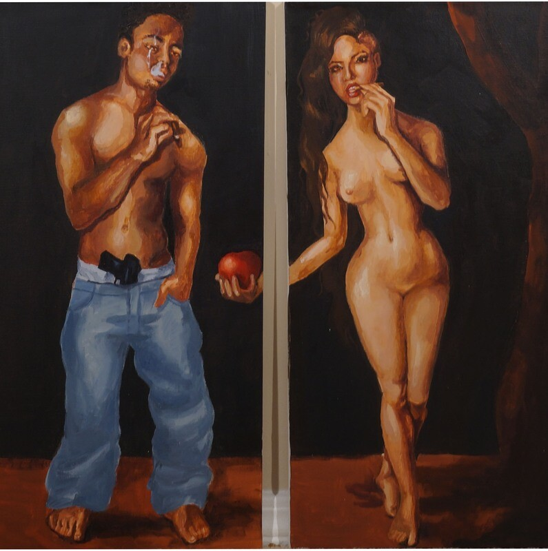 Adam & Eve Original Acrylic Painting