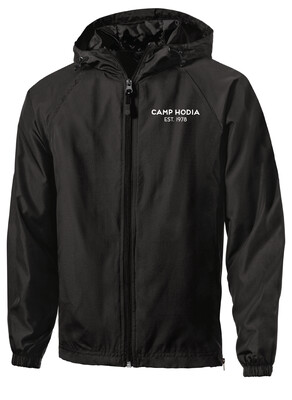 Black Hooded Sport-Tek Zip-Up Rain Jacket