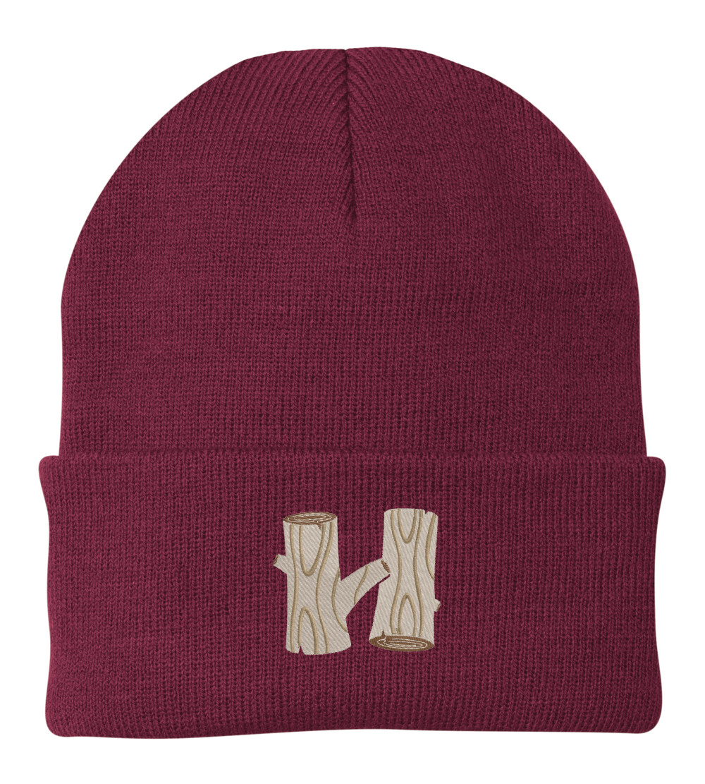 Maroon Hodia Embroidered H Beanie
