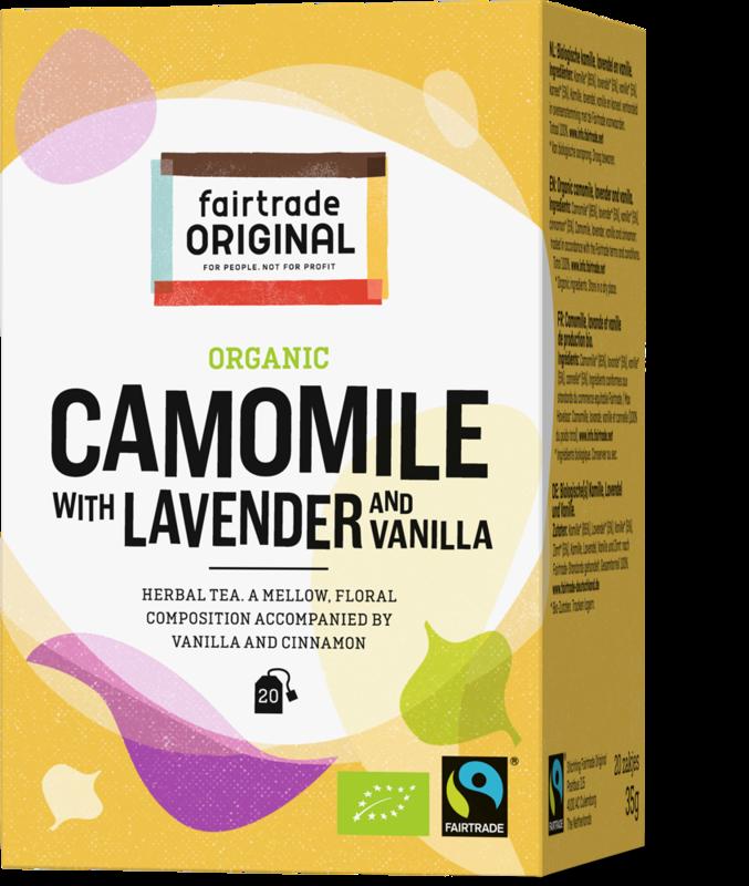 Biologische kruidenthee van kamille, lavendel, vanille en kaneel.