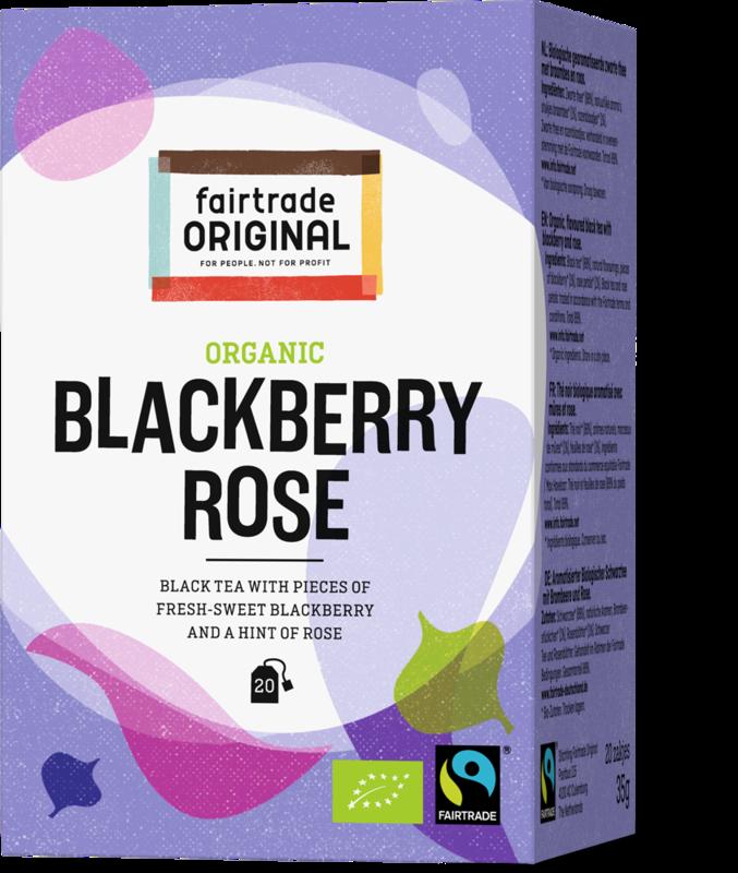 Biologische zwarte thee met braambes en een vleugje roos.