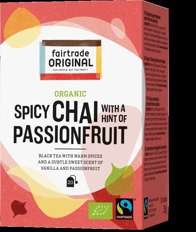 Biologische zwarte thee met specerijen en een hint van zoete vanille en passievrucht.