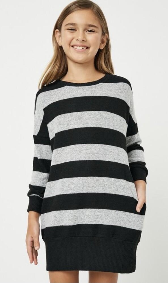 Black/Gray Stripe Sweater Dress