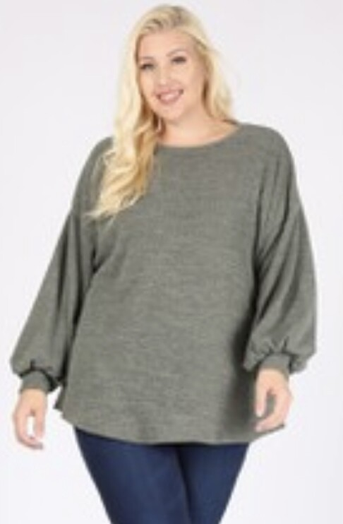 Saged Gray Bubble Sleeve Top