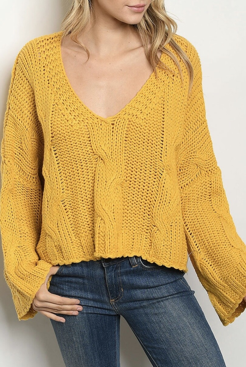 Mustard Cable Loose Fit Sweater