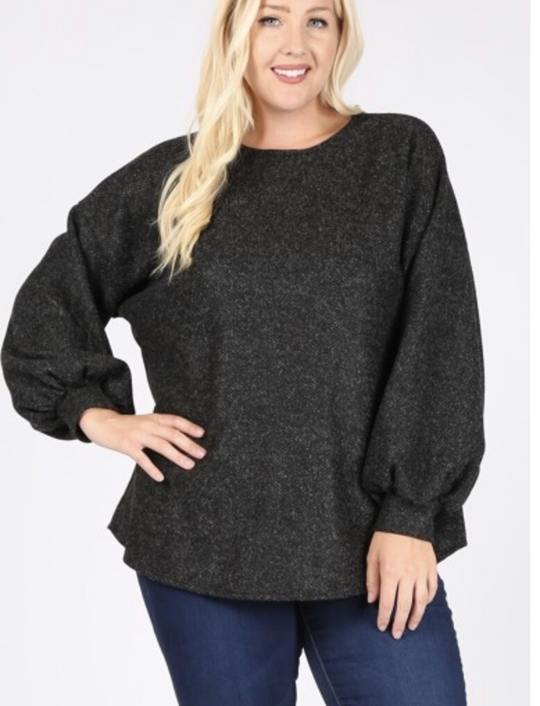 Black Bubble Sweater Top