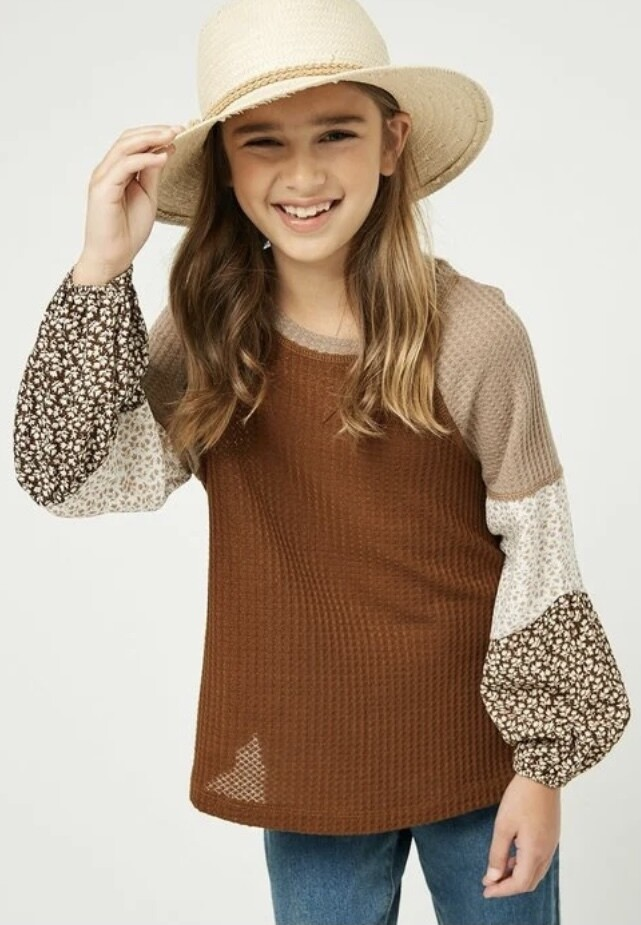 Brown Mix Thermal Contrast Top