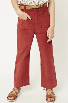Berry Corduroy Wide Leg Pants