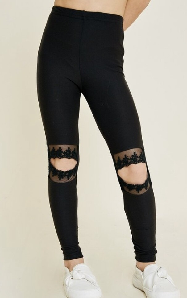 Black Lace Burn Out Leggings