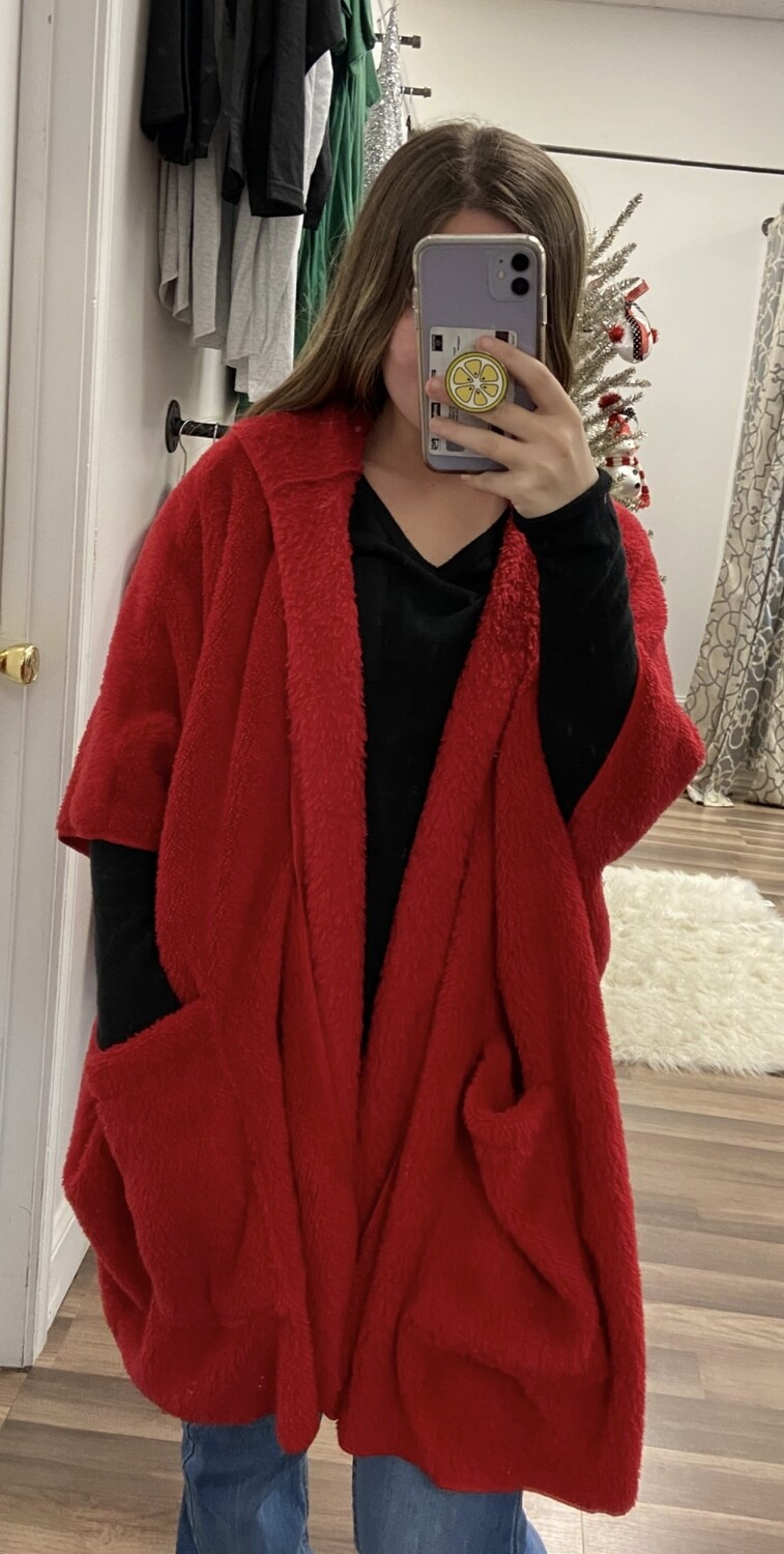 Christmas Red Sherpa Jacket