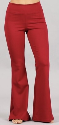 Red Chat Flare Bell Pants