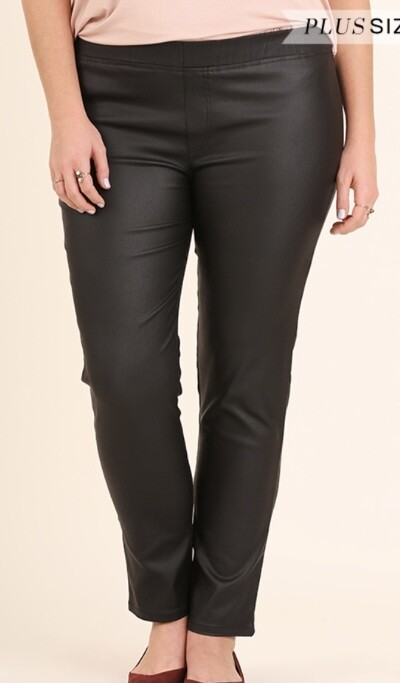 Faux Leather Pull Up Pants