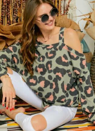 Sage Leopard One Shoulder Top