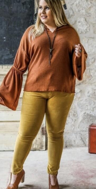 Mid Rise Mustard Cord Skinnies