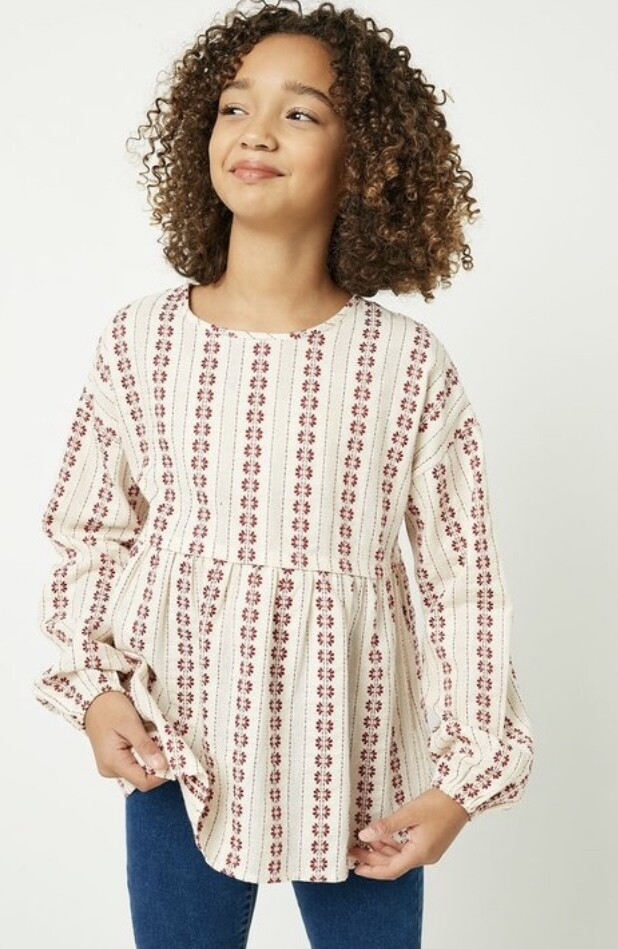 Rust Print Embroidered Top