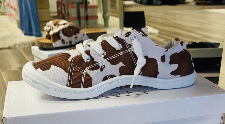 Obsessed Tan Cow Sneakers