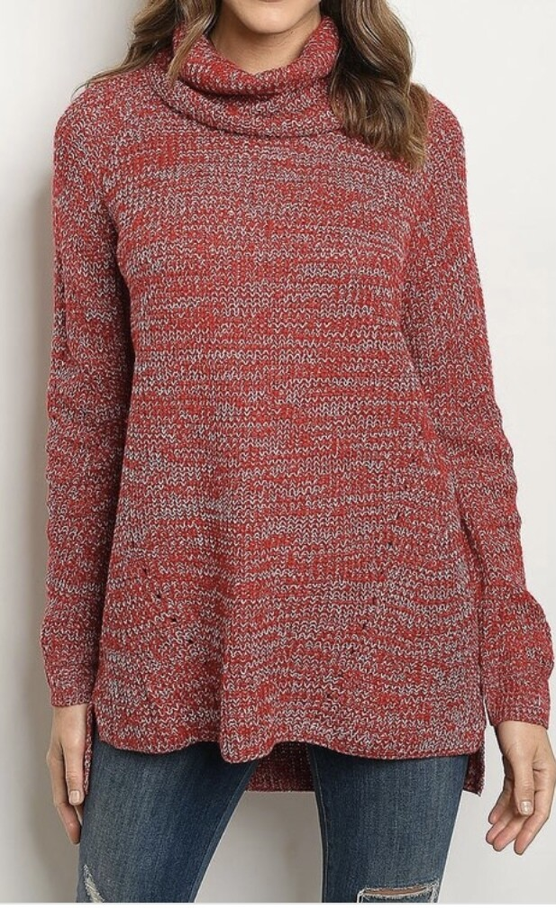 Red/Gray Marbled Cowl Sweater