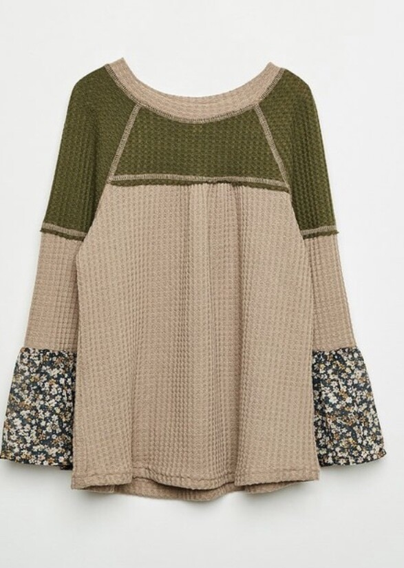 Olive Waffle Floral Mix Top