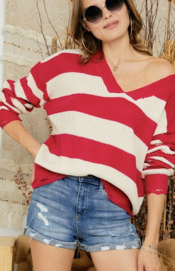 Hot Pink Striped Distressed Sweater