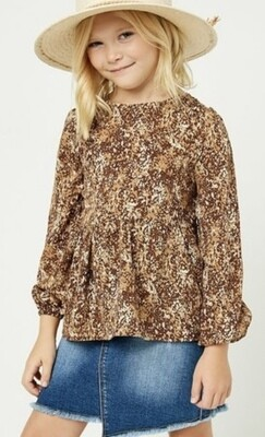 Brown Ditsy Print Top