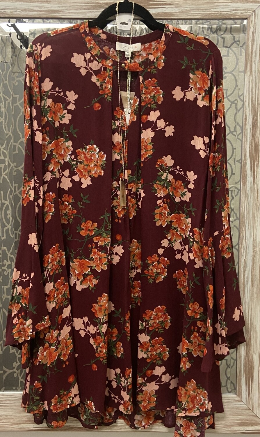 Wine Floral Dress/Tunic
