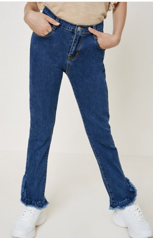 Distressed Ruffle Hem Jeans