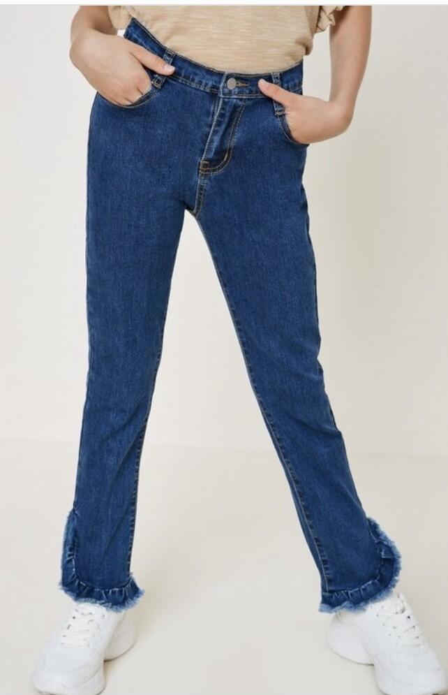 Distressed Ruffle Hem Jeans