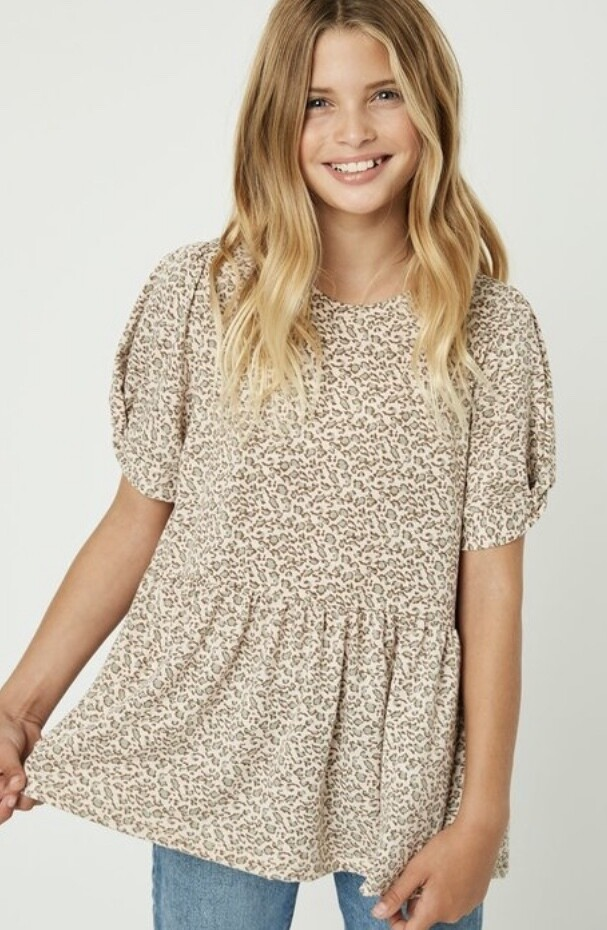 LL Taupe Leopard Top