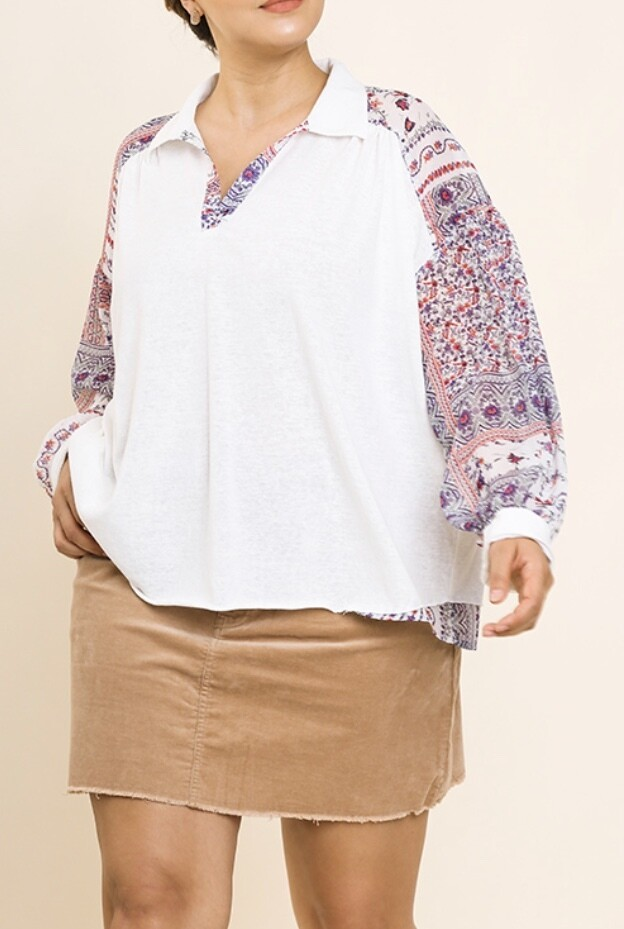 Touch of Floral Contrast Top
