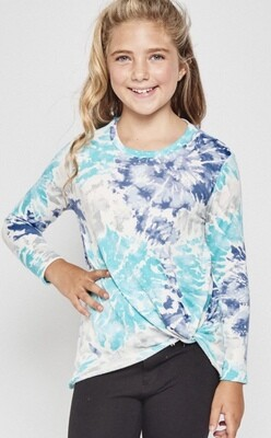 LL Shades of Blue Tie Dye Knot Top