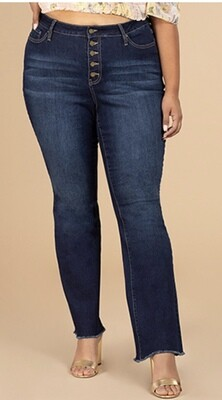 High Rise Frayed Flare Jean
