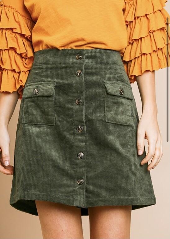Olive Cord Skirt