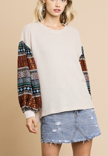Oatmeal Contrast Top