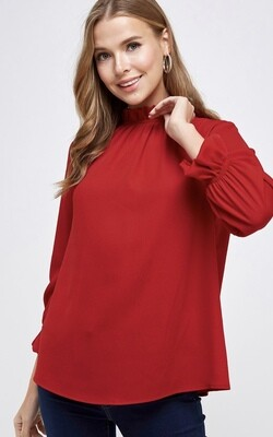 Red Crepe Blouse
