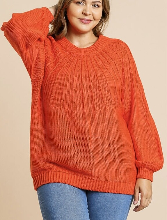 Tomato Bubble Sleeve Sweater