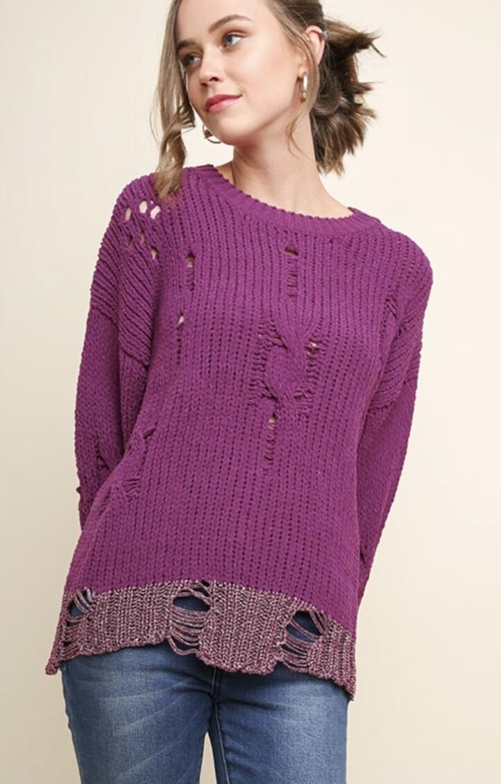 Magenta Distressed Sweater