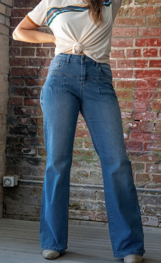 Wide Leg Mid Rise Boot Jean
