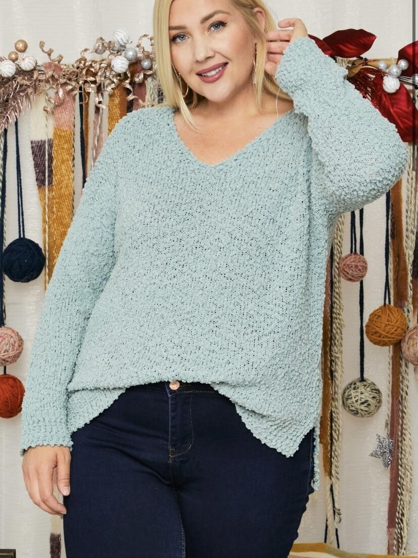 Seafoam Popcorn Sweater