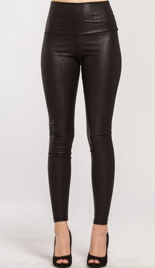 Snake Faux Leather Leggings
