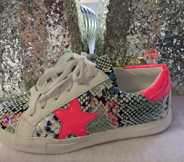 Fuchsia Snake Sneakers