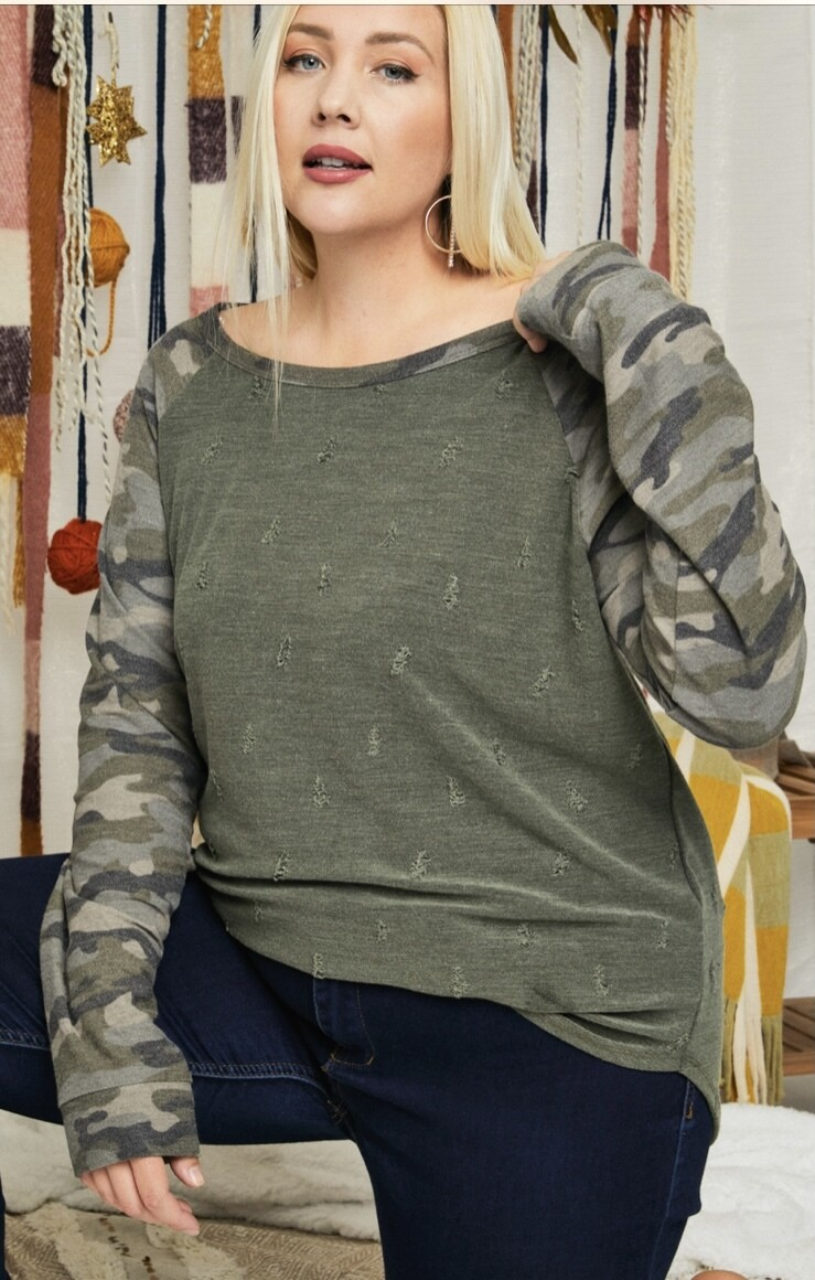 Olive Distressed Top