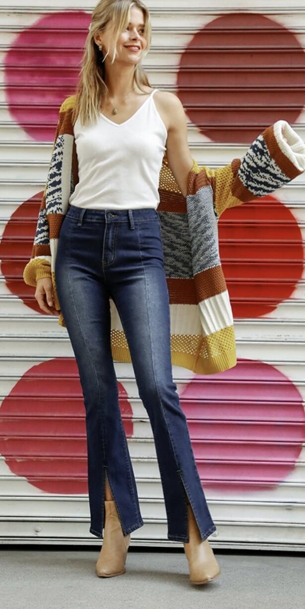 Indigo Split High Rise Jeans