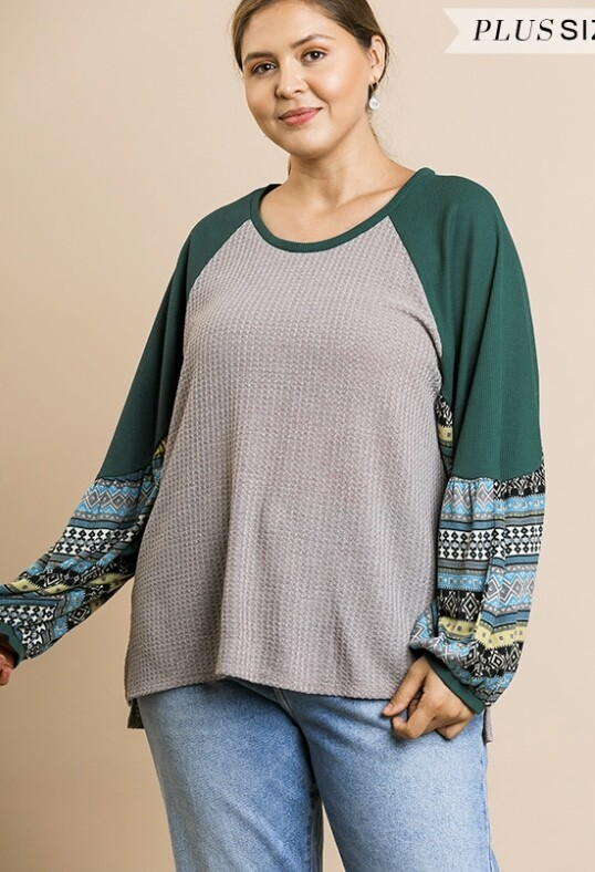 Green Goddess Contrast Top