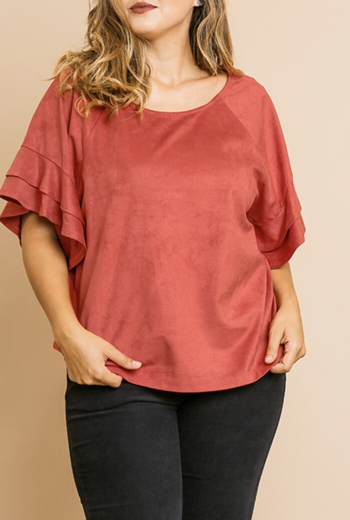 Red Clay Suede Frill Top