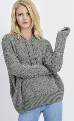 Saged Gray Popcorn Hooded Sweater
