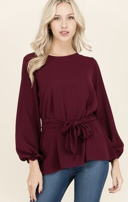 Burgundy Belted Blouse