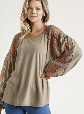 Taupe and Lace Contrast Top