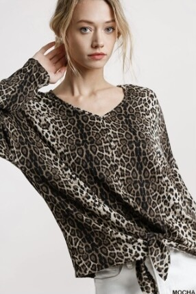 Feeling Frisky Leopard Knot Top