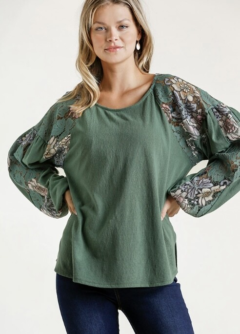 Plus Sage and Lace Top