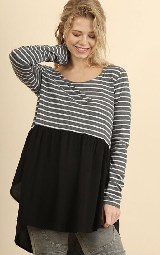 Black Stripe Tunic Top